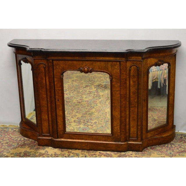 Antique 1800's Burl Walnut Mirrored Sideboard For Sale - Image 10 of 11