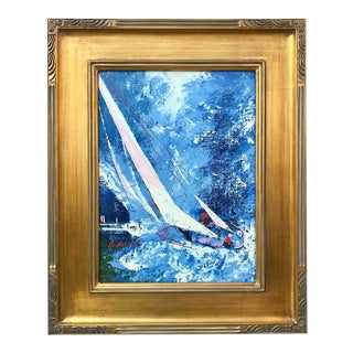 Vintage Mid Century Modern Expressionist Oil Painting Sail Boat Racing by Gordon For Sale