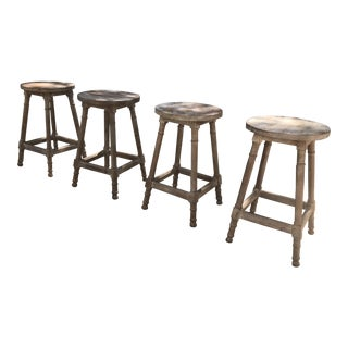 Rustic Wood Kitchen Stools - Set of 4 For Sale