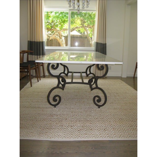 Honed Carrara Marble & Iron Dining Table - Image 2 of 5