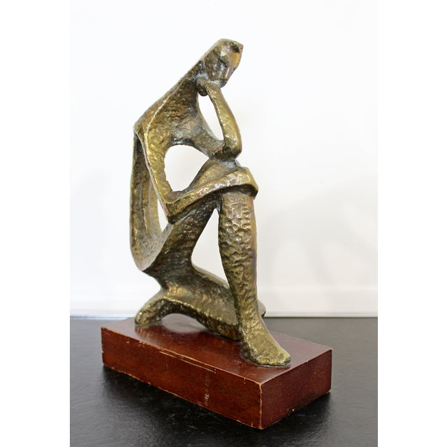 Mid 20th Century Mid Century Modern Bronze Table Sculpture of Curved Brutalist Figure For Sale - Image 5 of 9