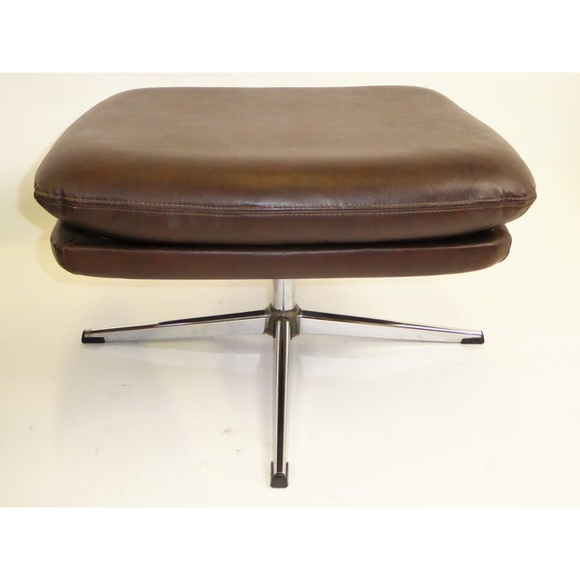 Overman Sweden 1970s Overman Swivel Foot Stools Benches in Dark Brown Leatherette- A Pair For Sale - Image 4 of 13