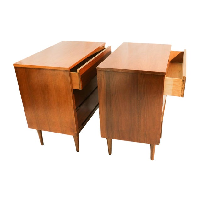 Mid-Century Walnut Chest Nightstands- A Pair - Image 6 of 10