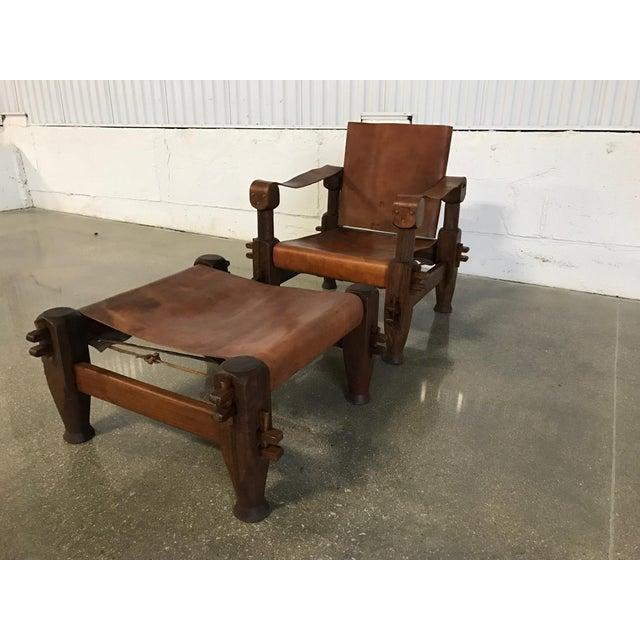 Vintage Safari Chair Ottoman Rosewood Leather Image