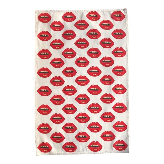 Original Embrasse Moi Lips Linen Cotton Tea Towel, Custom Made For Sale