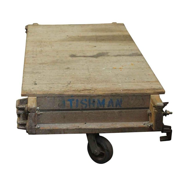 Industrial Vintage Wooden Factory Cart For Sale - Image 3 of 5