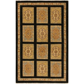 Kafkaz Peshawar Hermila Black/Blue Wool Area Rug - 3'2 X 4'10