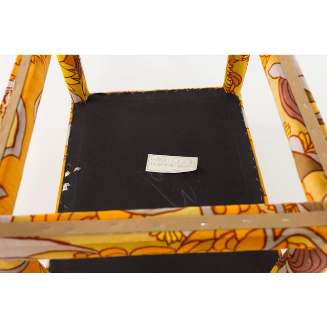 Milo Baughman for Thayer Coggin Mid Century Parsons Ottoman Stool With Jack Lenor Larsen Fabric For Sale In Chicago - Image 6 of 7
