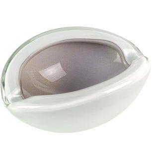 Alfredo Barbini Murano Vintage Purple White Gold Flecks Italian Art Glass Mid Century Bowl For Sale