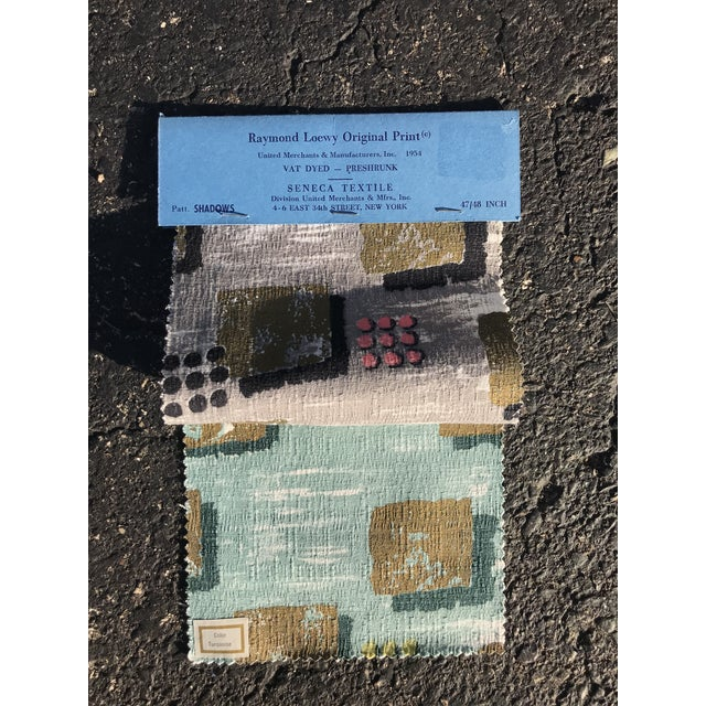 """One vintage original Raymond Loewy """"Shadows"""" textile sample with two swatches from 1953. Most likely these fabrics would..."""