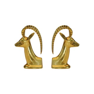 Vintage Brass Ibex Bookends