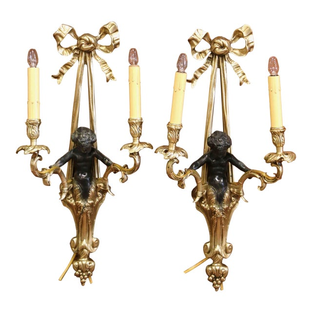 Mid-19th Century French Louis XVI Bronze Dore Wall Sconces With Cherubs - a Pair For Sale