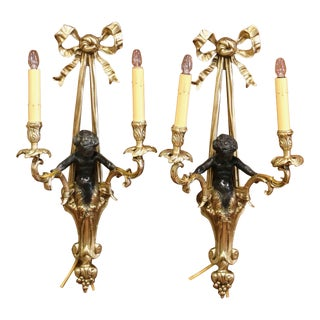 Pair of Mid-19th Century French Louis XVI Bronze Dore Wall Sconces With Cherubs For Sale
