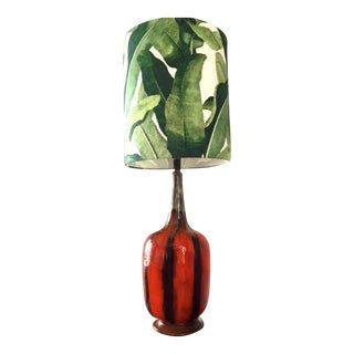 Vintage Mid-Century Modern Drip Glazed Lamp With Tall Banana Leaf Shade