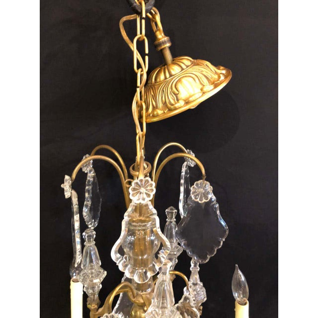 Metal French Bronze and Crystal Gilt Chandelier, Louis XVI Style For Sale - Image 7 of 13