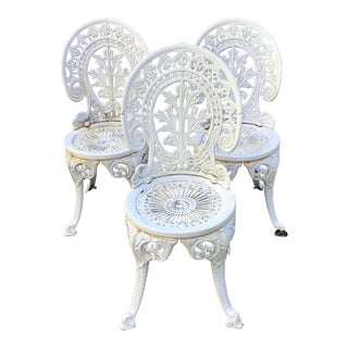 French Iron White Garden Chairs - Set of 3 For Sale