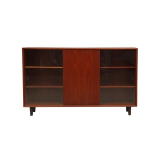 Danish Mid Century Modern Teak Bookcase With Glass Doors