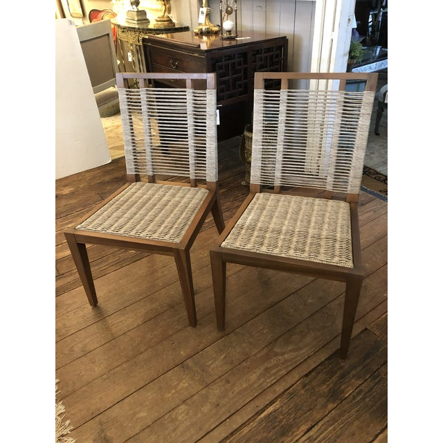 Organic Modern Pair of Raffia Rope & Teak Side Chairs -A Pair For Sale - Image 13 of 13