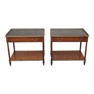 Mid 20th Century Beacon Hill Marble Top Regency Style Side Tables - a Pair For Sale
