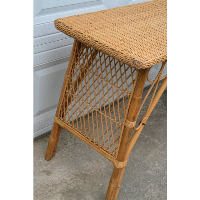 1950s 1950s Wicker Rattan Desk and Chair - a Set For Sale - Image 5 of 12