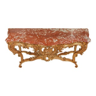 19th Century French Carved Giltwood Marble Top Console For Sale