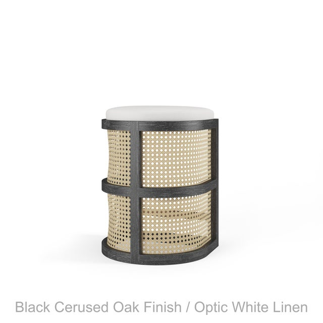 Not Yet Made - Made To Order Isabella Counter Stool - Black Cerused Oak, Optic White Linen For Sale - Image 5 of 5