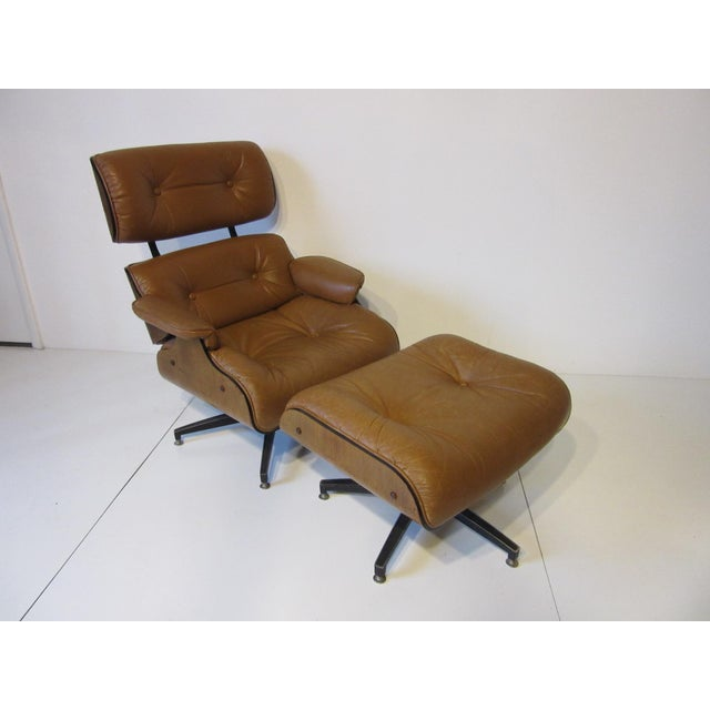 Selig Swiveling Leather Lounge Chair and Ottoman For Sale - Image 10 of 10