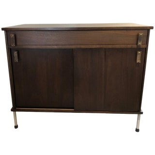 Knoll and Drake Walnut Cabinet With Sliding Doors For Sale