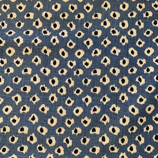 "Quadrille China Seas ""Moroc"" Blue Animal Print Heavy Weight Linen Fabric- 2 3/4 Yards For Sale"