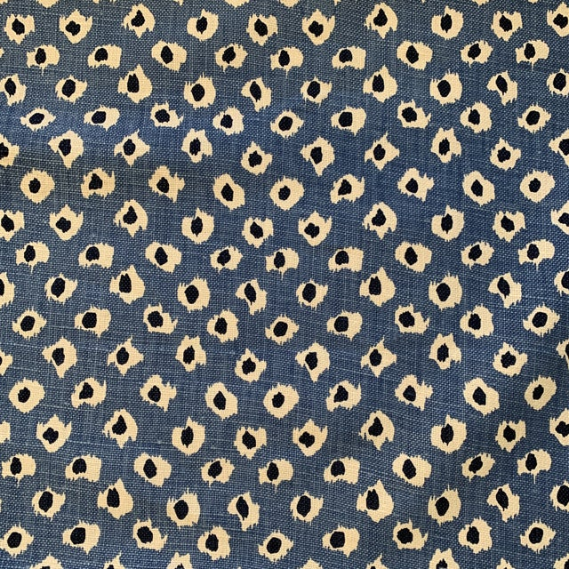 """Quadrille China Seas """"Moroc"""" Blue Animal Print Heavy Weight Linen Fabric- 2 3/4 Yards For Sale"""