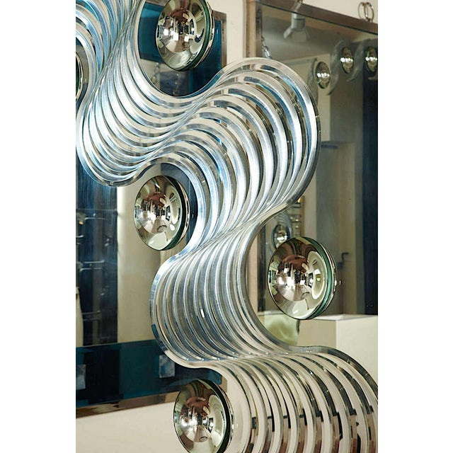 André Hayat Spectacular Large Bubble Mirror with Engraved Wave Design.