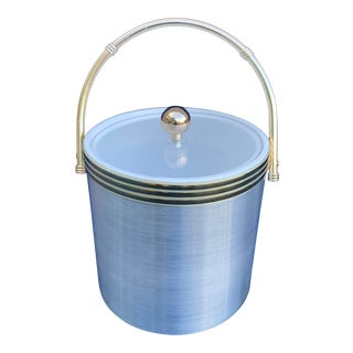 1980s Post Modern Silver Ice Bucket With Clear Acrylic Lid For Sale