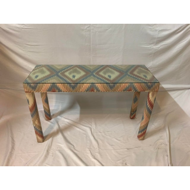 Vintage Upholstered Parsons Console Table For Sale - Image 12 of 13