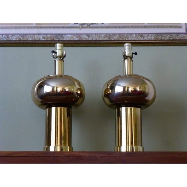 1970s Mid-Century Modernist & Sculptural Brass Ball Lamps - a Pair For Sale - Image 5 of 10