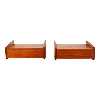 Vinatage Danish Modern Teak Floating Bed Tables - a Pair C. 1960's