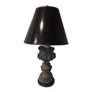 1980s Marshall Field Plaster Table Lamp With Black Shade For Sale