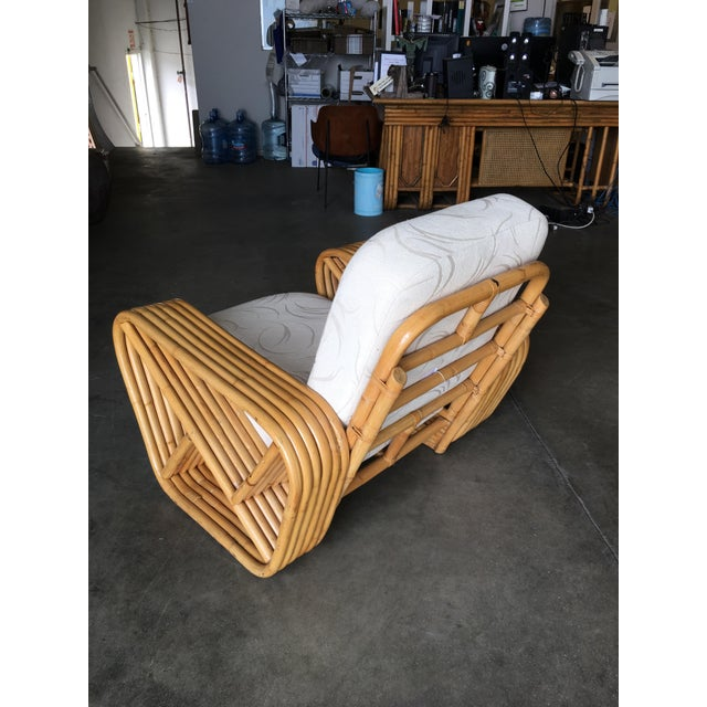 Yellow Restored Six-Strand Rattan Sofa and Lounge Chair Set - 2 Pc. For Sale - Image 8 of 11
