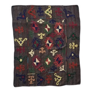 "Hand Woven Hand Embroidered Wool Rug-5'6'x6'8"" For Sale"