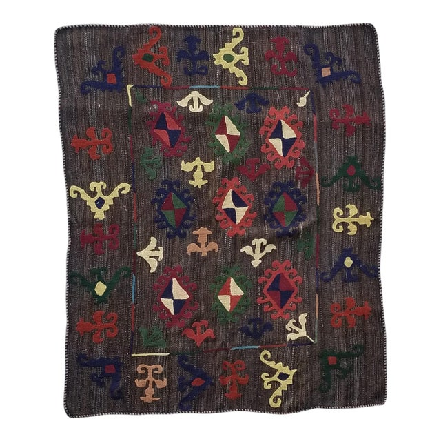 """Hand Woven Hand Embroidered Wool Rug-5'6'x6'8"""" For Sale"""