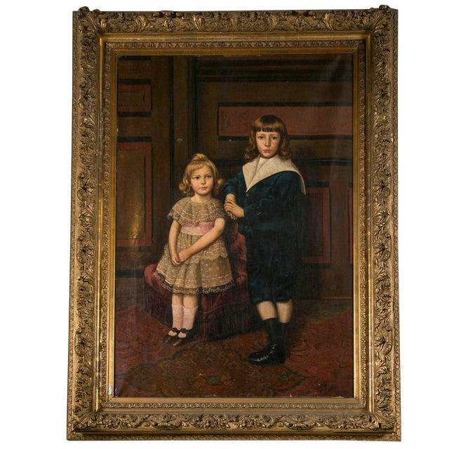 Oil on Canvas Portrait of 2 Children For Sale