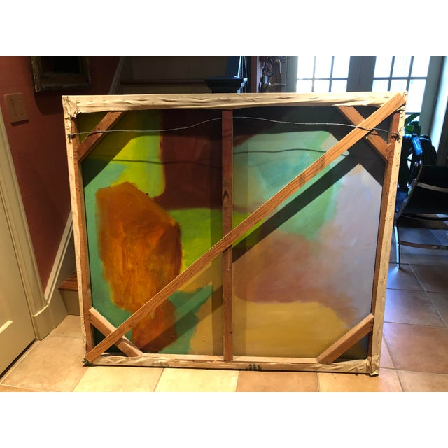 Large Vintage Mid Century Abstract Oil Painting on Canvas in the Style of Josef Albee's For Sale - Image 9 of 9