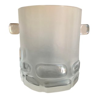 Antique Hand Blown Brutalist Glass Ice Bucket W/ Clear Relief Cut Cubical Band & Cube Handles For Sale