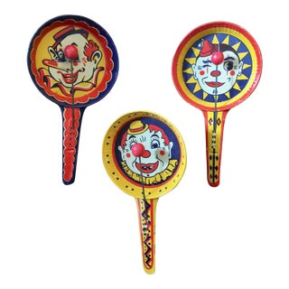 1940s Lithographed Tin Clown Motif Noisemakers - Set of 3