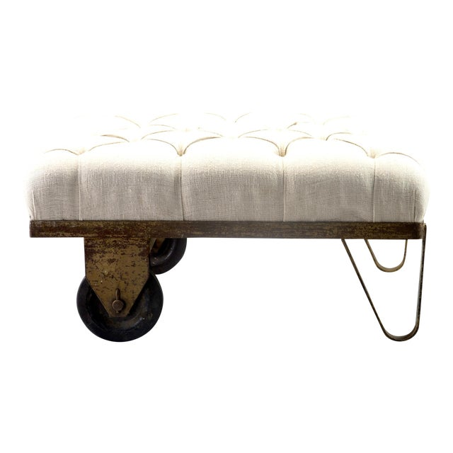 1930s Tufted Ottoman Bench Stool with Industrial Wheelbarrow Base For Sale