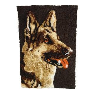 Vintage German Shepherd Portrait Hook Rug Tapestry Wall Art For Sale