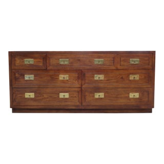 Vintage Henredon Campaign Oak Dresser Chest of Drawers For Sale