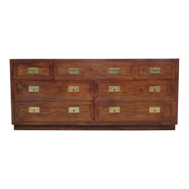 Vintage Henredon Campaign Oak Dresser Chest of Drawers For Sale