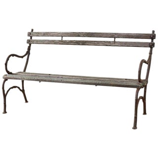 19th Century English Faux Bois Iron Garden Bench For Sale