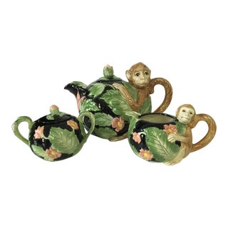 1980s Art Nouveau Fitz and Floyd Jungle Monkey Tea Set - 3 Pieces
