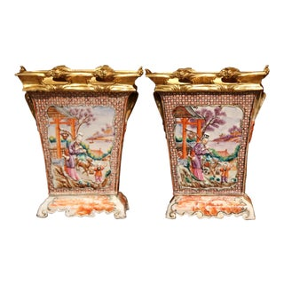 Pair of 19th Century French Porcelain and Gilt Bronze Mandarin Palette Vases For Sale